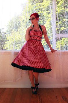 Rockabilly 'Dylan' Pink Polka Dot Halterneck Dress by PixiePocket, $140.00