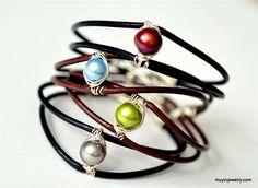 Pearl & Leather Bracelet (Mu-Yin Jewelry) Love all the beautiful wire work :) Old Jewelry, Leather Jewelry, Wire Jewelry, Jewelry Crafts, Antique Jewelry, Beaded Jewelry, Jewelry Making, Beaded Bracelets, Jewelry Ideas