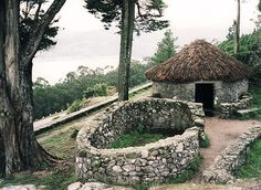 stone house in Castro de Santa Tegra, Galicia, Spain