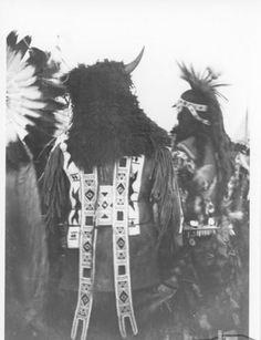 'Horned Headdress' ~ (Cree/Saulteaux/Dakota/Nakota) ~ White Bear, Sask c1920 Source: Sask Hist. & Folk. Society