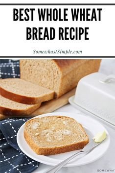 There's nothing better than a warm slice of homemade bread. This whole wheat bread recipe is incredibly easy to make and ALWASY turns out perfectly! Wheat Bread Recipe, Bread Recipes, Real Food Recipes, Cookie Recipes, Dessert Recipes, Best Whole Wheat Bread, Dinner Rolls Recipe, Baked Goods, Easy Meals