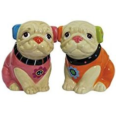 Cute Pugs Magnetic Ceramic Salt and Pepper Shaker Set, 2.75-Inch