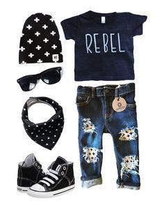 Perfect outfit for baby boy! Toddler boy. Rebel. Distressed denim. Hipster boy. www.maeryanco.com