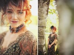 A gold and black lace wedding gown for an autumn wedding | The Natural Wedding Company