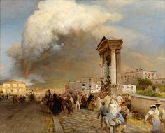 """Oswald Achenbach:  """"Neapel, Ausbruch des Vesuv 1872"""", 1890, oil on canvas, Dimensions: 124 × 150 cm (48.8 × 59.1 in), Private collection."""