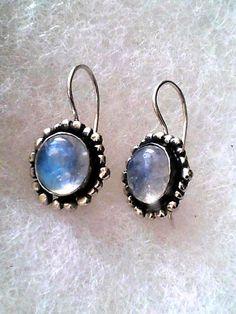 Moonstone Earrings Sterling Rainbow Moonstone by rioritajewelry