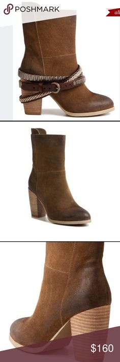 Antelope suede tri wrap boots. Sz 38. Absolutely amazing suede boots with removable tri wrap detailing. Worn once, still in impeccable condition. Color is chocolate brown. Anthropologie Shoes Ankle Boots & Booties
