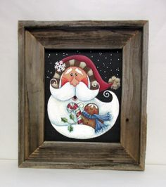 Folk Art Santa with Gingerbread Man and Candy Cane, Tole or Hand Painted, Framed in Rustic Reclaimed Barn Wood, Christmas Santa, Framed Art by barbsheartstrokes on Etsy Primitive Christmas, Christmas Crafts, Christmas Ornaments, Christmas Plates, Country Christmas, Xmas, Santa Paintings, Christmas Paintings, Tole Painting Patterns