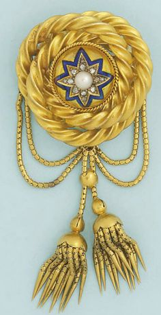 A Victorian gold, diamond and pearl brooch Designed as a central domed star motif with half-pearl centre within rose-cut diamond and blue enamel border, with entwined candy twist border suspending twin fringe tassels from matching swags, to a locket back, circa 1850, fitted case