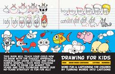 A book for children to learn how to draw with easy steps by turning words into cute cartoons - word toons drawing tutorials for children