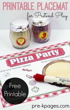 Pretend Pizza Shop for Preschoolers. A Printable Placemat for a Dramatic Play Pizza Shop in Preschool or Kindergarten. Make pretend play fun and meaningful for kids