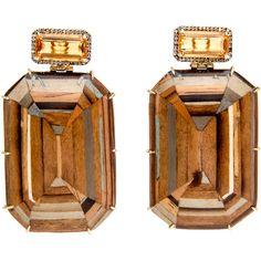 Marquetry Citrine Gem Earrings (516.265 RUB) ❤ liked on Polyvore featuring jewelry, earrings, earring jewelry, gem jewelry, gemstone jewelry, gem earrings and gemstone jewellery