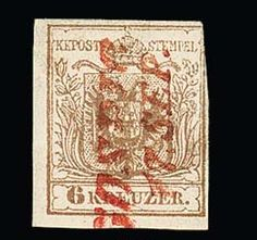 Gospic, very scarce red two-line cancel the südöstlichen Militärgrenze clear on 6 Kr., first issue (these right ber. ), Austria postmark rarity, which even by Dr. Jerger was missing! Müller 680 points  Dealer Rauhut & Kruschel Stamp auction  Auction Minimum Bid: 300.00 EUR
