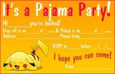 POKEMON SLEEPOVER INVITATIONS
