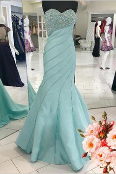 Beaded prom dress, chiffon prom dress, cute light blue chiffon long prom gown for 2017