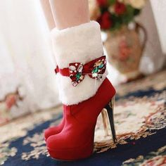 Perfect Black and Red Christmas Boots for Women Wedge Heels, Stiletto Heels, High Heels, Cute Shoes, Me Too Shoes, Funny Shoes, Bootie Boots, Shoe Boots, Women's Shoes
