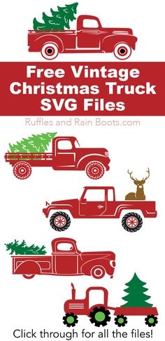 Free Christmas Truck SVGs If you're making something with your cutting machine this Christmas, check out these vintage Christmas red truck files – ALL FREE! Click through to see all the options (love them all). Christmas Red Truck, Christmas Svg, Vintage Christmas, Xmas, Cricut Projects Christmas, Christmas Stencils, Christmas Christmas, Vinyl Crafts, Vinyl Projects