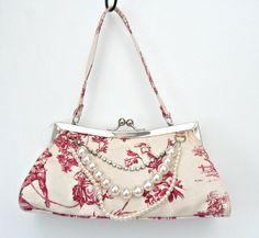BNWT TOILE DE JOUY FABRIC RED & CREAM,DIAMANTE & PEARL EFFECT SMALL CLASP BAG