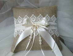 Ring Bearer Pillow  Wedding  pillow-burlap and by CraftStories