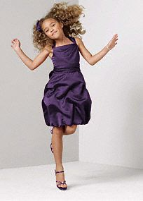 The perfect choice for your junior bridesmaid, this chic style is both fun and elegant!  Wide-strap tankbodice is simple and stunning.  Dress featurestie-backwaist for added adjustable fit.  Knee-length pick up skirt is sensational and age appropriate.  Available in select stores and online.  Fully lined. Back zip. Imported. Dry clean only.  Sizes and colors are available in limited stores and with limited availability.