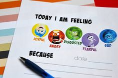 Joy, Anger, Disgust, Fear, and Sadness can be part of your child's daily journal entries with the printable Inside Out feelings journal.