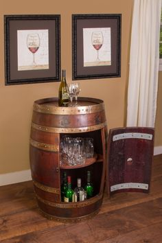 Whole wine barrel cabinet is a refinished vintage wine barrel converted to a lovely cabinet. Lazy Susan is made from a solid wood retired wine barrel head. Wine Barrel Wall, Barrel Bar, Barrel Table, Wine Barrel Furniture, Bar Furniture, Tonneau Bar, Wine In The Woods, Barris, Tasting Table
