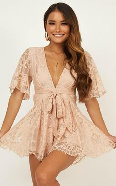 Complete your look with the Break The Bar Playsuit In Blush Lace from Showpo! Cute Dresses, Formal Dresses, Women's Dresses, Dresses Online, Summer Outfits, Cute Outfits, Teenager, Dress Up, Wrap Dress