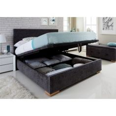 Sleep Sanctuary UK // Windsor Upholstered Ottoman Storage Bed - $399.00