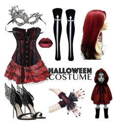 """red and black devil"" by jasmine-pbe ❤ liked on Polyvore featuring halloweencostume and DIYHalloween"