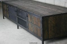 Media Console/Credenza - Urban, Modern Industrial, Vintage Industrial design. Reclaimed Wood, Steel, Loft, Sideboard, TV Stand via Etsylee cowen