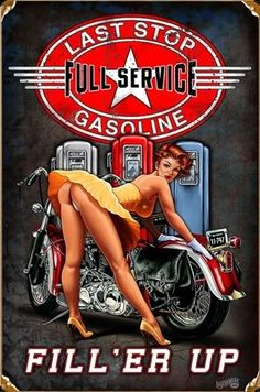 "Harley Davidson - Pin Up Girl - Full Service Gasoline - ""Fill'er Up"""