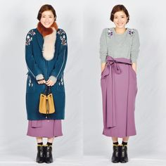 Sweater with floral pattern Gray + purple Japanese Costume, Asian Style, Colorful Fashion, Fashion Outfits, Womens Fashion, Casual Wear, Cute Girls, Asian Girl, Duster Coat