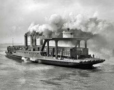 "Detroit Publishing Co. Smoke on the Water 1905 ""Transfer steamer Detroit on the Detroit River"""