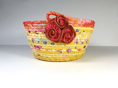 Clothesline Basket  Sunny Yellow and Melon   by SallyManke on Etsy