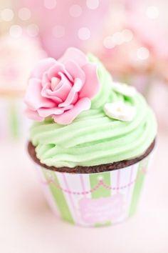 Pink and green rose cupcake