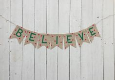 Christmas Banner - Believe Banner - Christmas Believe Banner - Christmas Polka Dot Banner - Christmas Photo Prop - Christmas Decor by 3BlessingsBurlap on Etsy