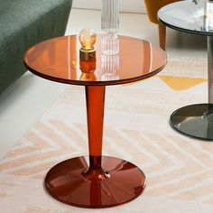 Round Lucite Tulip Side Table in Colors | Clear Home Design Round Side Table, Round Coffee Table, Acrylic Side Table, Mid Century Modern Side Table, Living Room End Tables, Ambre, End Tables With Storage, Assemblage, Montage