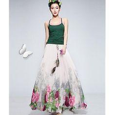De las mujeres de la impresión floral del oscilación de la gasa de la falda – EUR € 22.17