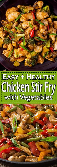Easy Chicken Stir Fry This Stir Fry Chicken recipe with Vegetables can be made in less than 30 minutes. Chicken Stir Fry is a super easy chicken meal that is fully packed with flavors. Chicken Thigh Stir Fry, Chicken Stir Fry Sauce, Chicken Stir Fry With Noodles, Healthy Chicken Stir Fry, Fried Chicken Recipes, Chinese Chicken Stir Fry, Chicken Saute, Chicken Vegetable Stir Fry, Stir Fry Recipes