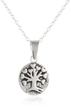 """Amazon.com: Sterling Silver Small Tree of Life Pendant Necklace, 18"""": Jewelry"""