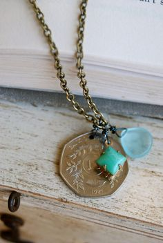 Beth. vintage coin,seafoam green,sea blue charm necklace. Tiedupmemories