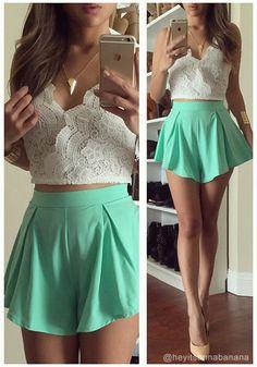 Lace top + mint shorts