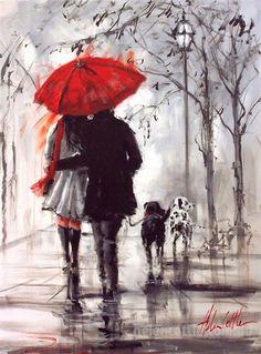 Love under an umbrella, from a painting by Australian artist Helen Cottle. Art Amour, Rain Painting, Love Painting, Couple Painting, Types Of Painting, Knife Painting, Umbrella Art, Fine Art, Beautiful Paintings