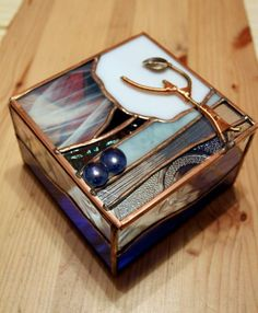 ZN Stained Glass - Winter Tree hinged stained glass jewelry box