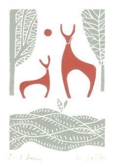 Deer Print - Linocut- Original Hand Pulled Block Print -Woodland - Mid Century Modern Christmas Inspired Art