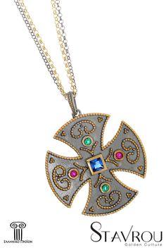 Γυναικείος σταυρός, ασημένιος 925', χειροποίητος,εμπνευσμένος από βυζαντινά κοσμήματα,επιχρυσωμένος και επιροδιωμένος #σταυροί_βάπτισης #βαπτιστικοί_σταυροί #βυζαντινά_κοσμήματα #χειροποίητα_κοσμήματα #γυναικείοι_σταυροί  #σταυροί #κοσμήματα_χαλάνδρι