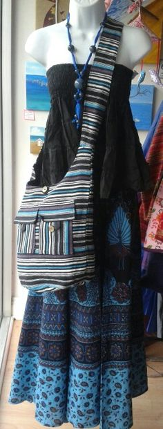Fair trade holiday Skirt worn as top £6.00 (sale) Indian wrap skirt £18.00 Cross over shoulder bag £9.50 Glass bead necklace £6.00