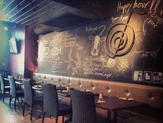 Blackboard Wall - would be nice to display specials/ weekly specials. Farm Restaurant, Restaurant Deals, Restaurant Design, Blackboard Wall, Tabu, I Love Coffee, Great Restaurants, Blackboards, South Florida