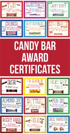 Candy Bar Award Certificates are a fun and thoughtful award to use for any occasion. Pair the award with the associated candy bar for an inexpensive and unique prize. Great for parties, summer camp, students, teachers, youth conference, youth group, boy scouts, girl scouts, girls camp, sports teams and more!
