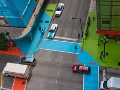 """""""The Loop Is Jammin' With Color"""" - photo from chicago.thelocaltourist  (2012);  """"The Chicago Loop Alliance unveiled Color Jam, and art installation by Jessica Stockholder. Buildings, sidewalks, and even crosswalks are festooned with bright swaths of vinyl. The artist has covered downtown with more than 75,000 square feet of it, turning the neighborhood into a Willy Wonka-esque playground of festive color."""""""